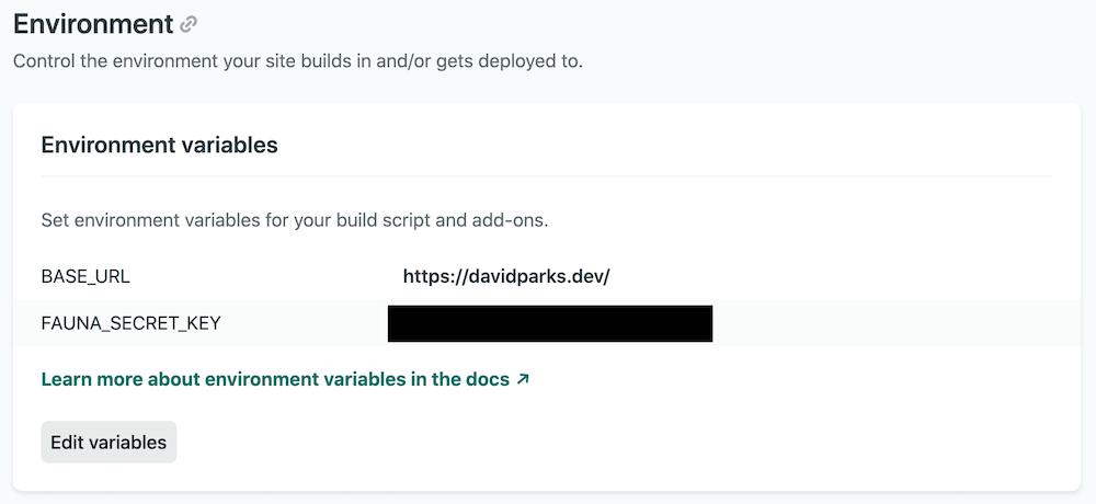 Screenshot showing how to generate a FaunaDB database API key